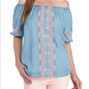 Crown & Ivy Chambray Peasant Top XS